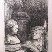 """Rembrandt van Rijn """"Der Zeichner"""" originale Radierung, 1641, White Boon 130 III von III, 9,3 x 6,4 cm  Zur Verfügung gestellt von: Kössl Kunst & Teppich"""