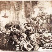 """Rembrandt van Rijn (1606 – 1669) """"Christus vertreibt die Geldwechsler aus dem Tempel"""" Original Radierung 1635, 14 x 16,8 cm, Hollstein 139 II von IV, feiner toniger Druck mit schmaler Ränderung   Zur Verfügung gestellt von: Kössl Kunst & Teppich"""