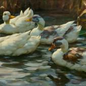 ALEXANDER KOESTER <br> Enten im Teich. Öl auf Leinwand. Signiert: A. Koester. 45,5x76,5 cm. CHF 20 000 / 30 000 Auktion 28. März 2014