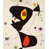 """Kolhammer-Mahringer, JOAN MIRÓ Montroig 1893 - 1983 Clamajor/Mallorca """"Oda a Joan Miró"""" 1973 farbige Lithographie auf Guarro, 88 x 61 cm erschienen bei Ediciones Polígrafia, Barcelona eigenhändig signiert & nummeriert 54/75, WVZ Mourlot 908, Cramer 175"""