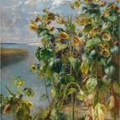 """Marie Egner, 1850 - 1940  """"Sonnenblumenfeld bei Venedig"""" Öl auf Leinwand, signiert,  100 x 75 cm Foto: © Kolhammer & Mahringer, fine arts"""