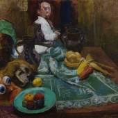 KOLIG, Anton 1886 - 1950 Stillleben mit Maske und Spiegelportrait 1940/1941  € 70.000 – 110.000  Öl auf Leinwand, montiert auf Preßspanplatte 79 x 100 cm Monogrammiert auf der Tischdecke: AK  WVK 280 (Id.-Nr. 255) Farbtafel und Abbildung