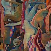 Kurt Freundlinger Hommage a Ver Sacrum - Der Schrei 2018, Öl, Wachs, Sand auf Lw, 100 x 130 cm