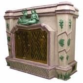 Jugendstilkamin Gmunden um 1920 H: 130 cm, B: 155 cm, T: 60 cm  Zur Verfügung gestellt von: Antiquitäten Kral