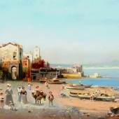 Robert Allot (Graz 1850 - 1910 Wien) Bucht von Neapel mit dem Vesuv im Hintergrund Öl auf Leinwand, signiert und datiert 1904 42 x 70 cm   Zur Verfügung gestellt von: Antiquitäten Kral