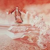 Krebsrot, korallen glüht der Himmel in meinem Sumpf. 2020, Aquarell auf Papier, 44 x 59 cm