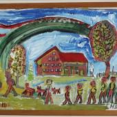 Hans Krüsi: Rotes Bauernhaus mit Figuren und Regenbogen, 1980. © Kunstmuseum Thurgau