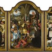 KUNSTBERATUNG ZÜRICH AG, Triptych representing the Adoration of the Magi, the Nativity and the Circumcision Pieter Coecke van Aelst (Aalst 1502-1550 Brussels), and workshop Oil on panel 102 x 70 cm (central panel); 100 x 31 cm (lateral panels)