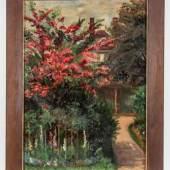"""Kurt Schwitters 1887 Hannover - 1948 Kendal - """"Ohne Titel (Blühender Kirschbaum vor Haus)"""" - Öl/Pappe. 70 x 50 cm. Monogr. l. u.: K S. Rahmen. Aufrufpreis: 8.000 EUR  Schätzpreis: 12.000 EUR"""
