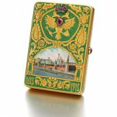 A Rare And Magnificent Imperial Presentation Fabergé Jewelled Gold And Enamel Cigarette Case, made for the Romanov Tercentenary, Moscow, 1913. Given by Emperor Nicholas