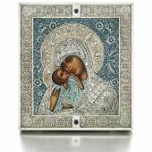 A Fabergé jewelled silver, enamel and seed-pearl icon of the Pelagonitissa Mother of God, Moscow