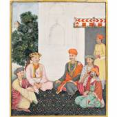 Lalita Parshad Seated With Four Companions, From The Fraser Album, Company School, Delhi, circa 1820 (est. £80,000-120,000)