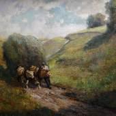 """Otto Pippel(1878-1960)""""Heuernte"""",Öl auf Leinwand,signiert,85,5x111cm"""