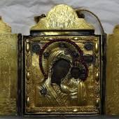 """Semenow,Peter(1739-1777) Reiseikone """"Gottesmutter von Kazan"""", Silber vergoldet mit Edelsteinbesatz"""