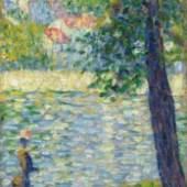 Georges Seurat Promenade matinale, Georges Seurat Promenade matinale (Étude pour 'La Seine à Courbevoie'), 1885 Öl auf Holz, 24,9 x 15,7 cm The National Gallery, London, presented by Heinz Berggruen, 1995
