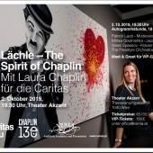 Plakat: Lächle - 130 Jahre Charlie Chaplin – mit Laura Chaplin für die Caritas