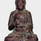 Lebensgroße Holzskulptur des sitzenden Buddha, China, Limit:: 2.300 €