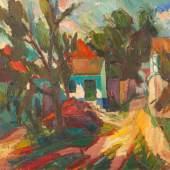 """Viktor Lederer (1932-2017) """"Bauernhof im Burgenland"""" Öl auf Leinwand, signiert und datiert 1970, 75 x 90 cm Foto: © Antiquitäten & Bildergalerie Figl"""