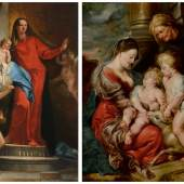Left: Tiepolo's The Madonna of the Rosary With Angels. Right: Rubens' The Virgin and Christ Child, With Saints Elizabeth and John the Baptist.