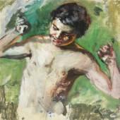 """Lovis Corinth (Tapiau, Ostpreußen 1858 – 1925 Zandvoort, Niederlande) """"Satyr"""" Öl auf Platte, ca. 1890, 28,8 x 30 cm  Zur Verfügung gestellt von: Galerie Lehner"""