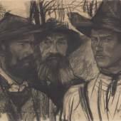 Wilhelm Leibl, Wildschützen, um 1882 Kohle auf Papier, 49 x 72,3 cm Sammlung David Lachenmann
