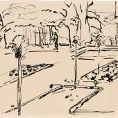 Cuno Amiet (1868 - 1961), Garten in Oschwand, 1910, Federkiel und schwarze Tusche auf Papier, 25.5 x 34.5 cm, Privatbesitz, Schweiz © M.+D. Thalmann, Herzogenbuchsee