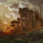 Ferdinand Knab Abendliche Landschaft mit antiker Tempelruine   Schätzpreis: € 4.000 - € 6.000
