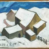 """Leopold Fetz brachte viele Motive aus dem bäuerlichen Milieu auf die Leinwand – wie das Bild """"Hof ll"""" aus dem Jahr 1998. (Copyright: Günter König)"""
