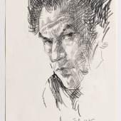 Mit Bleistift fertigte Leopold Fetz 1975 sein Selbstbildnis. (Copyright: Günter König)