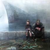 (c)Liana Nakashidze. The port. 2014.  160 x 200 cm. Oil/Canvas. 7700,-€