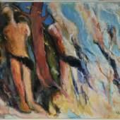 """Lipp, Kilian, 1953 Hindelang Öl/Lwd, 180 x 220 cm, rücks. betit. """" Der Tod meines Freundes """", Mindestpreis:4.500 EUR"""