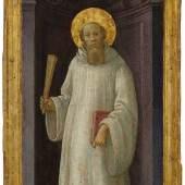FILIPPINO LIPPI Heiliger Benedikt. Um 1470–75. Öltempera auf Holz. 63,3 × 23,3 cm. Ergebnis: CHF 134 000
