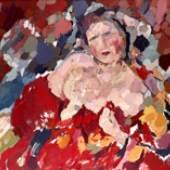 GUSTAV HESSING, Halbakt in Rot, um 1958 Leopold Museum, Wien, Inv. 674