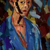 Gabriele Schulz; Selbst mit blauer Jacke, 1997; Gouache, 102 x 73 cm; Kunstsammlung des Landes Mecklenburg-Vorpommern; Foto: nordlicht © Gabriele Schulz