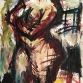 Jürgen Weber; Stehender Akt, 1998; Öl und Acryl auf Leinwand; 125 x 80 cm; Kunstsammlung des Landes Mecklenburg-Vorpommern; Foto: nordlicht © Jürgen Weber