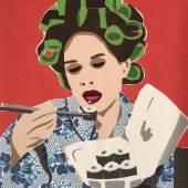 """((Bild Lockenwickler Lunch Sushi türkis-orange; Bildnachweis: Ursula Niehaus)): """"Lockenwickler Lunch Sushi türkis-orange"""": Die Künstlerin Ursula Niehaus aus Ingelheim wird auf der ARTe ihre Stoff-Collagen präsentieren."""