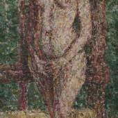 Christian Rohlfs 1849 Niendorf - 1938 Hagen Deutscher Expressionist; Akt vor Staffelei Öl auf Lwd; H 100,5 cm, B 50,5 cm Schätzpreis:25.000 - 30.000 EUR