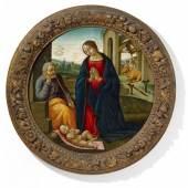 Mainardi, Sebastiano um 1460 San Gimignano - 1513 Florenz - zugeschrieben Anbetung des Kindes. Öl auf Pappelholz. Im Durchmesser: 85cm. Rahmen. Schätzpreis:30.000 - 40.000 EUR