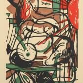 """MARC, Franz, """"Geburt der Pferde"""", 1913, Farbiger Holzschnitt, ca. 21,5 x 14,5 cm, Mindestpreis:2.000 EUR"""
