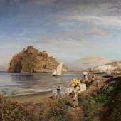"""Achenbach, Oswald,  """"Blick auf das Castello Aragonese, Ischia"""", Öl auf Leinwand, doubliert, signiert und datiert unten rechts Osw. Achenbach 1880, 89 x 135 cm. Mindestpreis:14.000 EUR"""