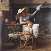 """Campolmi, Stefano (Italien, 19. Jh., Genremaler), """"Ein gut behüteter Schlaf"""", Mutter mit Kind in der Stube, Öl auf Leinwand, signiert unten rechts S. Campolmi Firenze, 83 x 70 cm, Prunkrahmen  Mindestpreis:2.400 EUR"""