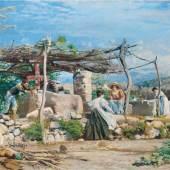 Nestel, Hermann 'Am Brunnen' (Genreszene in Ligurien/Bordighera), 1898 Oel auf Leinwand. 57,0 x 110,0 cm. Rechts unten signiert, Schätzpreis:25.000 - 28.000 EUR