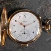 """Herrentaschenuhr """"Nestor Chronograph"""" Gehäuse und Innendeckel 585 GG, ca. 111 g tota, Mindestpreis:1.100 EU"""