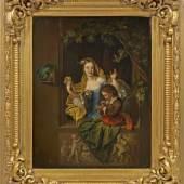 Willem van Mieris (1662 Leiden - 1747 ebenda) attr.;  Mädchen und Knabe beim Seifenblasenmachen in einem Fenster Mindestpreis:3.500 EUR