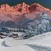 """Arnegger, Alois """"Alpenglühen (Rosengarten?)"""", Öl auf Leinwand, signiert unten rechts A. Arnegger, 61 x 91 cm Mindestpreis:1.400 EUR"""