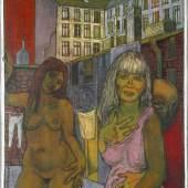 Otto Lackenmacher (Saarbrücken 1927-1988) Der Duft der Frauen, Öl auf Leinwand, 1988, links unten signiert und datiert, rückseitig mit handschriftlicher Widmung des Künstlers, 100 x 80 cm.  Schätzpreis:1.200 EUR