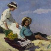 """Goossens, Josse, """"Mutter und Tochter am Strand"""", Öl auf Leinwand, signiert und datiert unten rechts Josse Goossens 09, 48 x 66 cm Mindestpreis:1.400 EUR"""