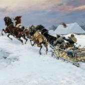 Bodhan von Kleczynski Wilde Schlittenfahrt Öl auf Leinwand 74,5 x 120cm Taxe: 12.000 - 15.000 Euro