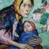 """Meffert, Carl (1903 Koblenz - 1988 Zürich) Arbeiterfrau mit Kind"""", Öl auf Leinwand, monogrammiert und datiert unten recht CM 25, 59 x 50 cm. Mindestpreis:800 EUR"""