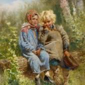 Makovsky, Konstantin Egorovich 1839 Moskau - 1915 St. Petersburg Zwei Kinder im Garten. Öl auf Holz. 45,5 x 37cm. Signiert und datiert unten rechts: C. Makowsky / 1875. Rahmen.  Schätzpreis:280.000 - 350.000 EUR